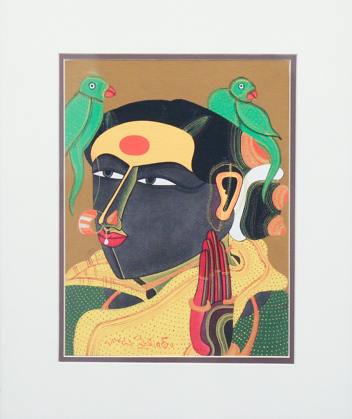 Untited by Thota Vaikuntam, Expressionism Painting, Acrylic on Board, Gray color