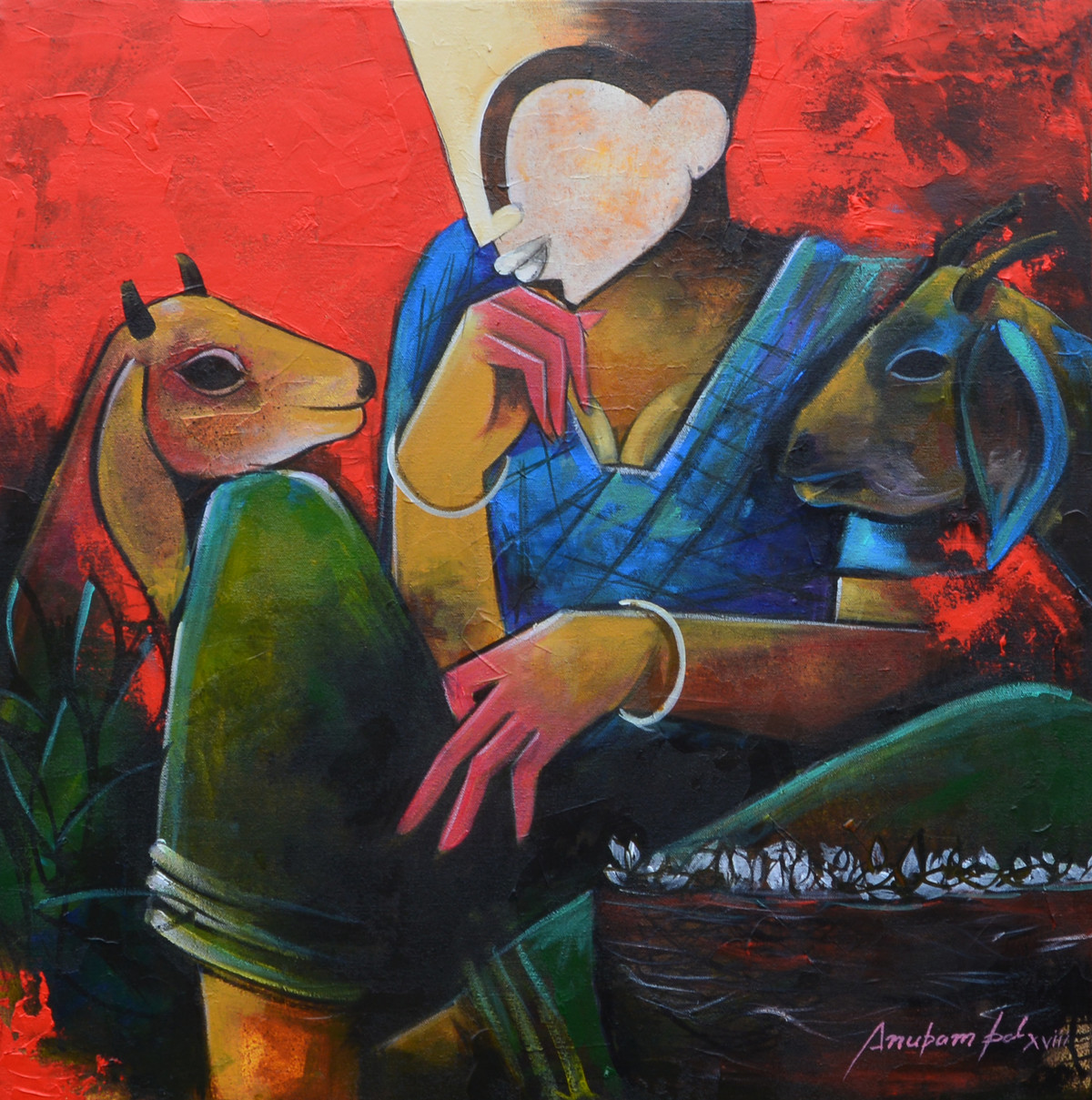 conversation by anupam pal, Decorative Painting, Acrylic on Canvas, Brown color