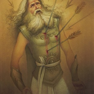 BHISHMA by Rajib Gain, Traditional Painting, Watercolor Wash on Paper, Brown color