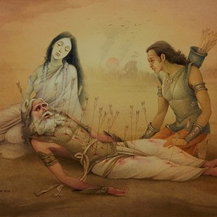 BHISHMA GANGA & ARJUNA by Rajib Gain, Traditional Painting, Watercolor Wash on Paper, Brown color