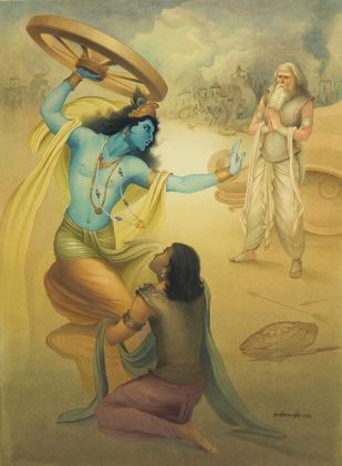 KRISHNA ATTACK BHISHMA BY WHEEL by Rajib Gain, Traditional Painting, Watercolor Wash on Paper, Beige color