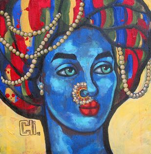 The colourful mind II by Suruchi Jamkar, Expressionism Painting, Acrylic on Canvas, Blue color