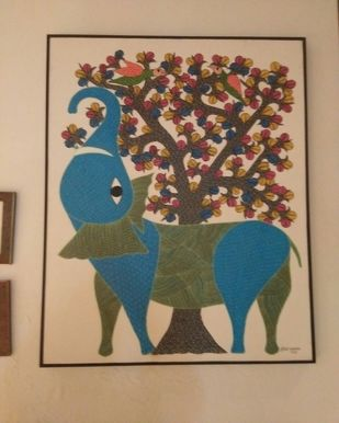 Gond Painting by Unknown Artist, Folk Painting, Acrylic on Canvas, Beige color