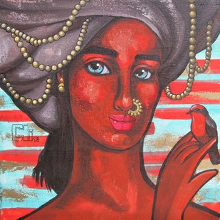 Girl with a red bird by Suruchi Jamkar, Expressionism Painting, Acrylic on Canvas, Brown color