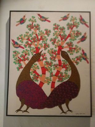 Gond Painting by Unknown Artist, Folk Painting, Acrylic on Canvas, Brown color
