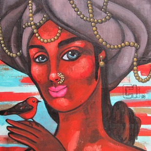 Girl with a red bird II by Suruchi Jamkar, Expressionism Painting, Acrylic on Canvas, Brown color