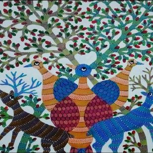 Gond Painting by Unknown Artist, Tribal Painting, Acrylic on Canvas, Green color
