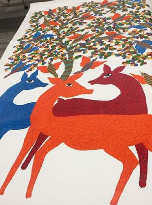 Gond Art by Unknown Artist, Folk Painting, Acrylic on Canvas, Pink color
