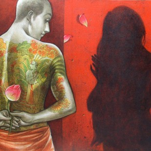 The Offering by Sukanta Das, Expressionism Painting, Mixed Media on Canvas, Brown color