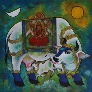 Kamadenu-18 by Rajeshwar Nyalapalli, Traditional Painting, Acrylic on Canvas, Green color