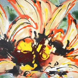 BALJIT DIVINE BLOOMS by Baljit Singh Chadha, Abstract Painting, Mixed Media on Paper, Beige color