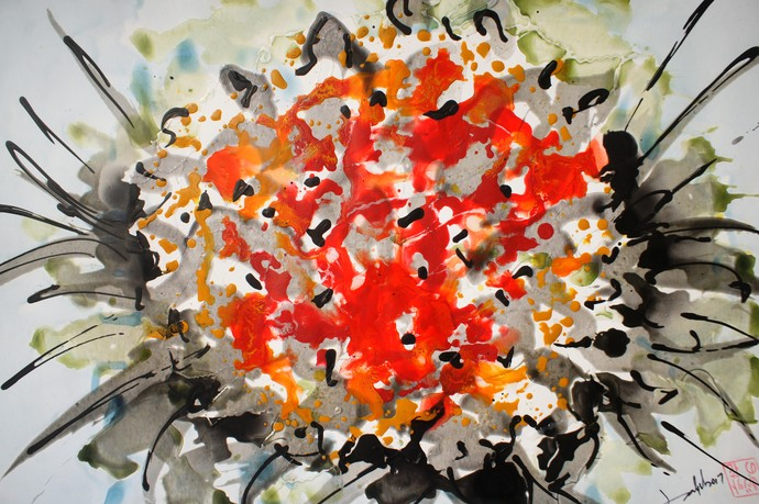 BALJIT DIVINE BLOOMS by Baljit Singh Chadha, Abstract Painting, Mixed Media on Paper, Brown color