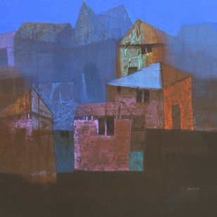 Village15 by Nagesh Ghodke, Geometrical Painting, Acrylic on Canvas, Brown color