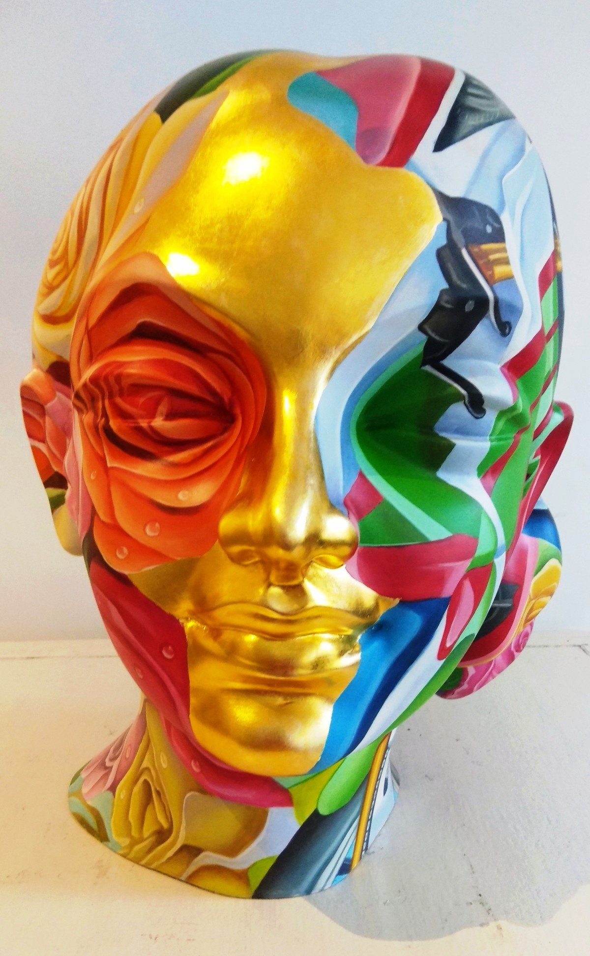 Face II by Venkat Bothsa, Art Deco Sculpture | 3D, Fiber Glass, Beige color
