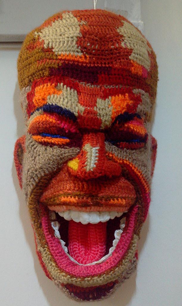 Face 18 by Archana Rajguru, Art Deco Sculpture | 3D, Mixed Media, Brown color