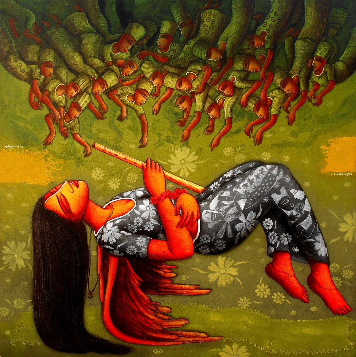 perspective Repressed lust by Samir Sarkar, Expressionism Painting, Acrylic on Canvas, Green color