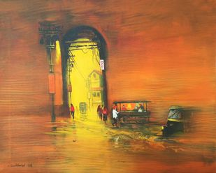 Night Harmony by Sunil Bambal, Impressionism Painting, Acrylic on Canvas, Brown color