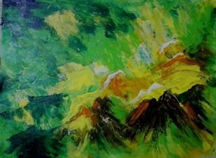 Bird's View by Broti Ganguly, Abstract Painting, Acrylic on Canvas, Green color