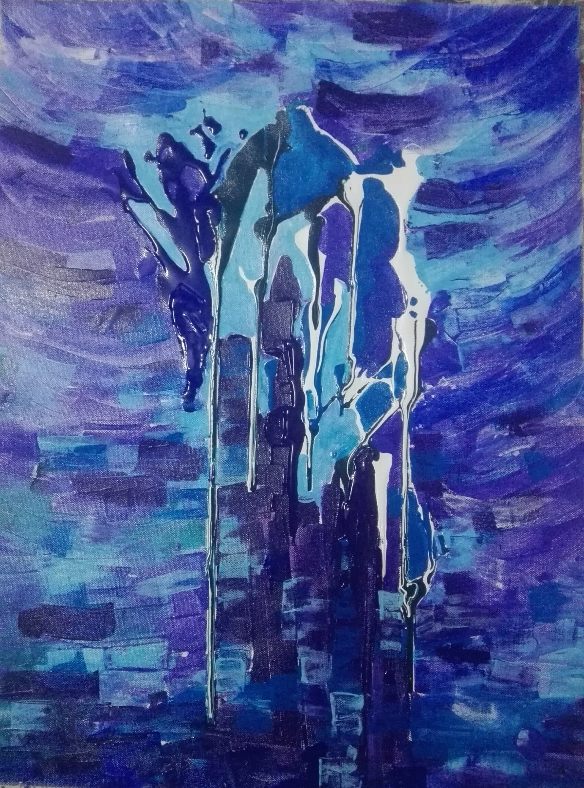 In the Minar by Broti Ganguly, Abstract Painting, Acrylic on Canvas, Blue color