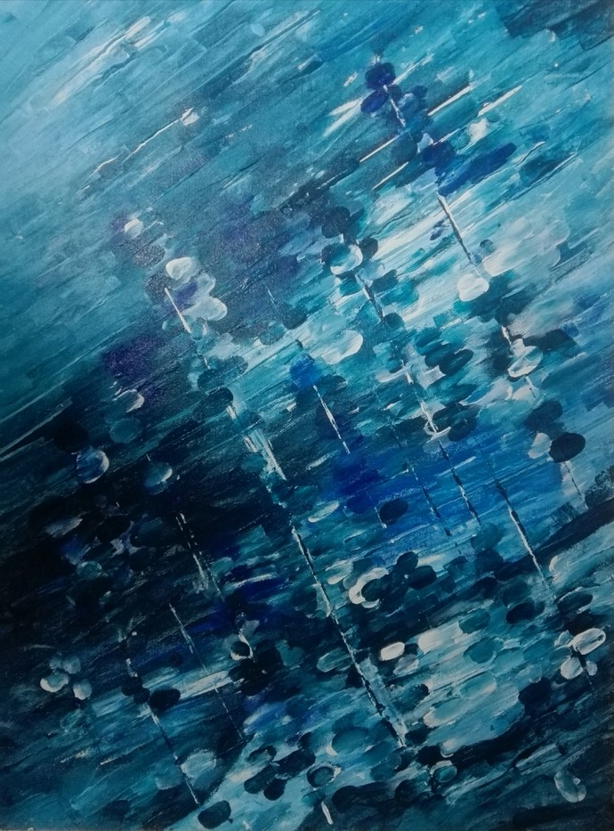 Reflections by Broti Ganguly, Abstract Painting, Acrylic on Canvas, Blue color