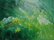 Peaks by Broti Ganguly, Abstract Painting, Acrylic on Canvas, Green color