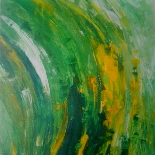 A dash of tomorrow by Broti Ganguly, Abstract Painting, Acrylic on Canvas, Green color