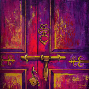 Aladdin's door by Manuela Gomes, Realism Painting, Acrylic on Canvas, Purple color