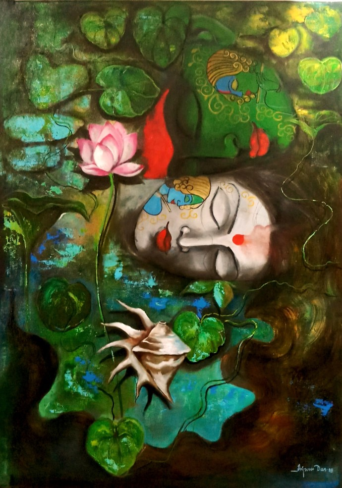 love of krishna by Arjun das, Expressionism Painting, Acrylic on Canvas, Green color
