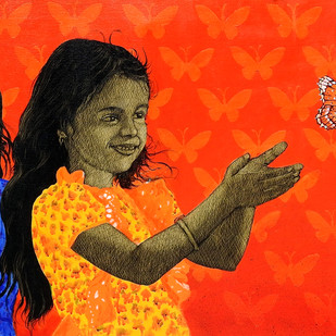 Butterfly by Deepali Sarde, Expressionism Painting, Oil & Acrylic on Canvas, Orange color
