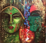 love of krishna 1 by Arjun das, Expressionism Painting, Acrylic on Canvas, Brown color