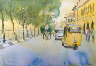Road to charminar by Sreenivasa Ram Makineedi, Impressionism Painting, Watercolor on Paper, Beige color