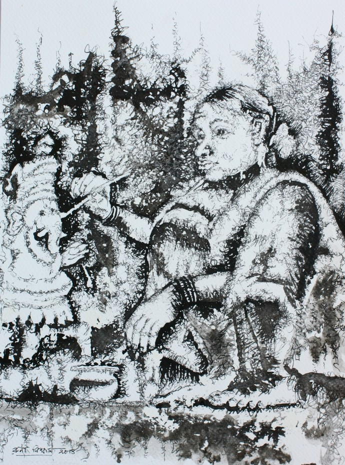 untitled by Runa Biswas, Expressionism Drawing, Ink on Paper, Gray color