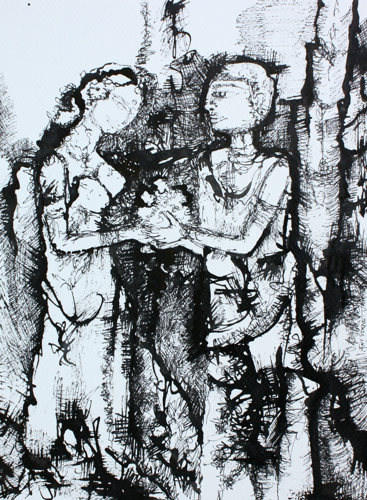 Sacret meeting by Runa Biswas, Expressionism Drawing, Ink on Paper, Gray color
