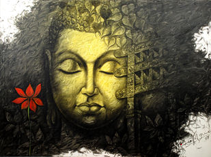 budha by prince chand, Expressionism Painting, Acrylic on Canvas, Gray color
