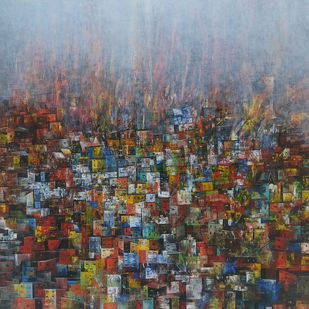 Distance view by M Singh, Geometrical Painting, Acrylic on Canvas, Brown color