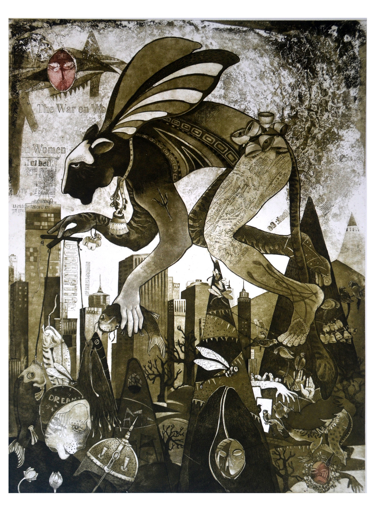 DILEMMA II by Rabi Narayan Gupta, Conceptual Printmaking, Etching and Aquatint, Brown color