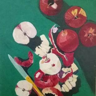 Apples and apple peels Digital Print by Rupinder kaur,Expressionism