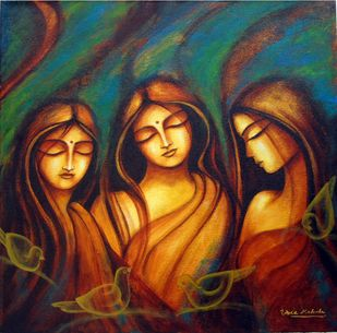 Raagam by Uma Makala, Expressionism Painting, Acrylic on Canvas, Brown color