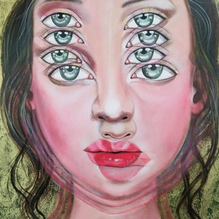 divergent persona by Anjum Khan, Op Art Painting, Acrylic on Canvas, Pink color