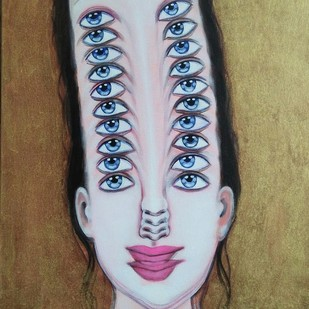 divergent persona by Anjum Khan, Op Art Painting, Acrylic on Canvas, Brown color