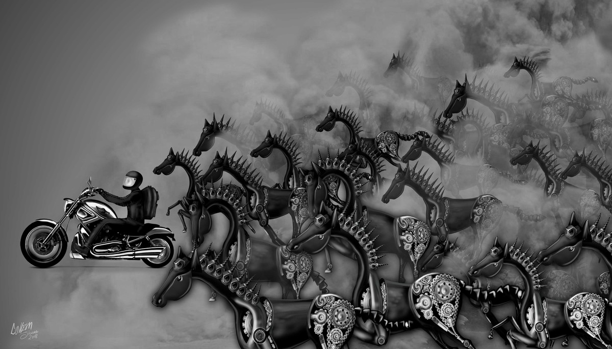 Ghoda_Gadi_Doodle by Lokesh Sharma, Digital Digital Art, Digital Print on Paper, Gray color