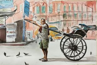 Rikshawala of Calcutta by Avanish Trivedi, Impressionism Painting, Watercolor on Paper, Gray color