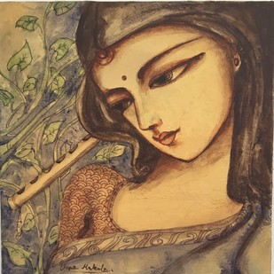 Radha by Uma Makala, Expressionism Painting, Acrylic on Canvas, Brown color