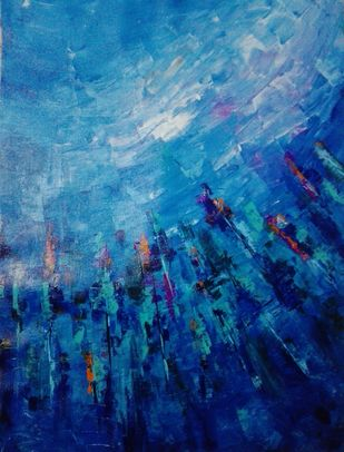 Reach by Broti Ganguly, Abstract Painting, Acrylic on Canvas, Blue color