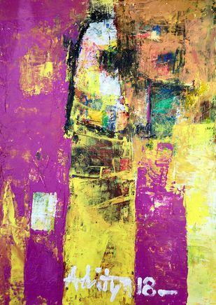 MOKSHA by Aditya Dev, Abstract Painting, Acrylic on Paper, Purple color