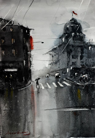 Kolkata monsoon XII by Arijit Basu , Impressionism Painting, Watercolor on Paper, Gray color