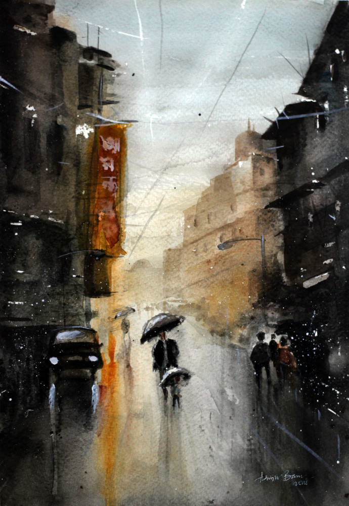 Monsoon XIII by Arijit Basu , Impressionism Painting, Watercolor on Paper, Gray color