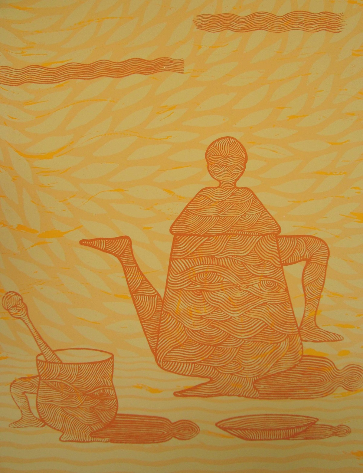 good morning by Santosh, Expressionism Printmaking, Serigraph on Paper, Beige color
