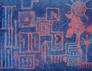chambers of thought by Santosh, Expressionism Printmaking, Serigraph on Paper, Blue color
