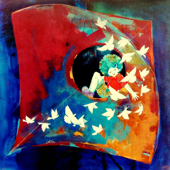 Passion of the childhood vi by shiv kumar soni, Expressionism Painting, Acrylic on Canvas, Blue color